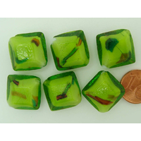 Perles verre Lampwork Losange 20mm Vert par 6 pcs