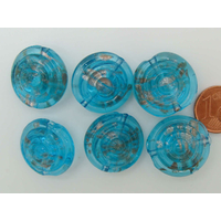 Perles verre GALET 20mm Touches dorées BLEU relief cercles par 6 pcs
