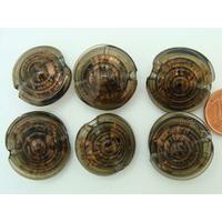 Perles verre GALET 20mm Touches dorées Gris Noir relief cercles par 6 pcs
