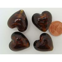 Perles verre COEUR 20mm Touches dorées NOIR par 4 pcs