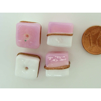 Perles verre Lampwork Cubes Rose Blanc 12mm par 4 pcs