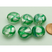 Perles galets 16mm rayures vertes verre façon Murano par 6 pcs