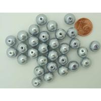 Perles verre peint RONDES aspect nacre 10mm GRIS ARGENTE par 30 pcs