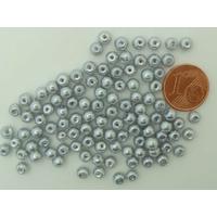 Perles verre peint RONDES aspect nacre 4mm GRIS ARGENTE par 100 pcs