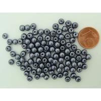 Perles verre peint RONDES aspect nacre 4mm GRIS FONCE par 100 pcs