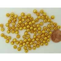 Perles verre peint RONDES aspect nacre 4mm Jaune doré par 100 pcs