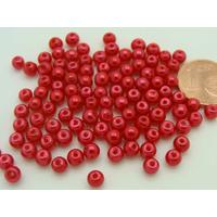 Perles verre peint RONDES aspect nacre 4mm ROUGE par 100 pcs