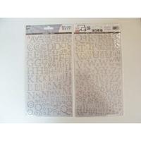 Stickers Alphabet Lettres Chiffres 300 pcs doré pailleté 2 planches 24,5x14cm Artemio