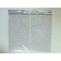 Stickers Alphabet Lettres Chiffres 300 pcs Argenté 2 planches 24,5x14cm Artemio