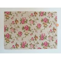 Tissu adhésif coupon format A4 motifs Fleurs Roses par 1 feuille