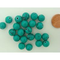 Perles rondes 8mm Bleu Vert Pierre turquoise Synthétique par 20 pcs