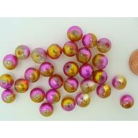 Perles verre Rondes 8mm peintes Doré Rose Fuchsia par 30 pcs