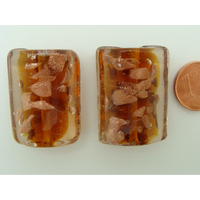 Perles verre Tubes ovales 29x20x11mm Touches dorées MARRON par 2 pcs