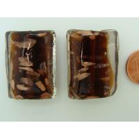 Perles verre Tubes ovales 29x20x11mm Touches dorées MARRON FONCE par 2 pcs