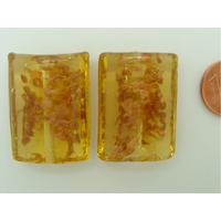 Perles verre Tubes ovales 29x20x11mm Touches dorées MIEL par 2 pcs