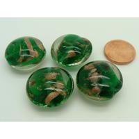 Perles verre GALET 20mm Touches dorées VERT EMERAUDE par 4 pcs