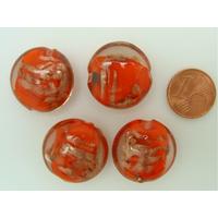 Perles verre GALET 20mm Touches dorées ORANGE par 4 pcs