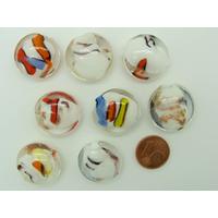 Perles verre GALET 20mm Touches dorées et multicolores par 8 pcs