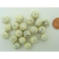 Perles verre motif MARBRE rondes 10mm CREME par 20 pcs