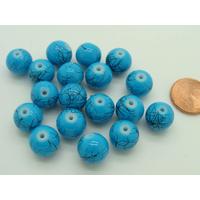 Perles verre motif MARBRE rondes 10mm BLEU TURQUOISE par 20 pcs
