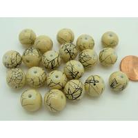 Perles verre motif MARBRE rondes 10mm MARRON CLAIR par 20 pcs
