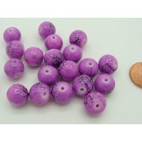 Perles verre motif MARBRE rondes 10mm VIOLET par 20 pcs