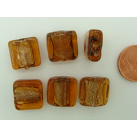 Perles carré 12mm Marron verre façon Murano par 6 pcs