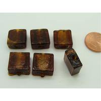 Perles carré 12mm Marron Foncé verre façon Murano par 6 pcs