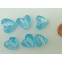 Perles Coeurs 15mm Bleu verre façon Murano par 6 pcs