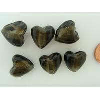 Perles Coeurs 15mm Gris verre façon Murano par 6 pcs