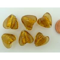 Perles Coeurs 15mm Marron Doré verre façon Murano par 6 pcs