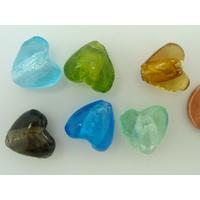 Perles Coeurs 15mm Mix couleurs verre façon Murano par 6 pcs