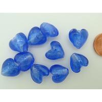 Perles Coeurs 12mm Bleu Foncé verre façon Murano par 10 pcs