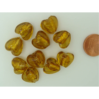 Perles Coeurs 12mm Marron doré verre façon Murano par 10 pcs