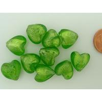 Perles Coeurs 12mm Vert Olive verre façon Murano par 10 pcs