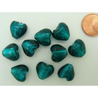 Perles Coeurs 12mm Vert Foncé verre façon Murano par 10 pcs