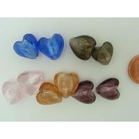 Perles Coeurs 12mm Mix couleurs verre façon Murano par 10 pcs