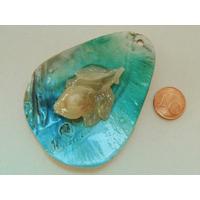 Pendentif nacre goutte 70mm Bleu ajout résine fleur