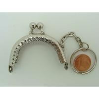Fermoir PORTE-MONNAIE petit 5cm argenté avec anneau porte-clé par 1 pc