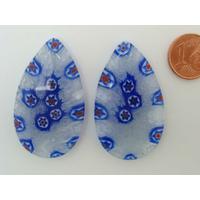 Pendentif Verre Millefiori Goutte 42mm Bleu transparent