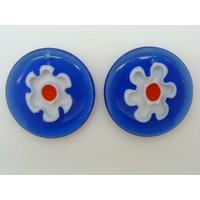 Pendentifs Verre Millefiori Rond 30mm Bleu Foncé Fleur par 2 pcs