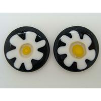 Pendentifs Verre Millefiori Rond 30mm Noir Fleur Blanc par 2 pcs