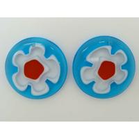 Pendentifs Verre Millefiori Rond 30mm Bleu Fleur Transparent par 2 pcs