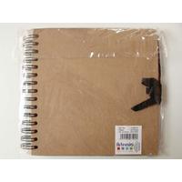 Album scrapbook carnet spiralé 40 feuilles 20x20cm Marron Kraft