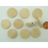 Perles Bois Clair galets ronds 20mm à décorer par 10 pcs