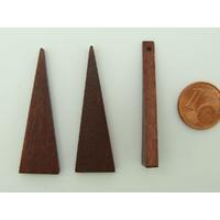 Pendentif BOIS Triangle Marron Foncé 41mm support à décorer par 10 pcs