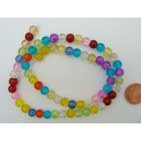Perles verre Craquelé rondes 6mm MIX couleurs par 65 pcs
