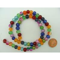 Perles verre Craquelé rondes 6mm MIX mod2 par 65 pcs