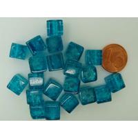 Perles verre Craquelé Cubes 8mm BLEU VIF par 20 pcs