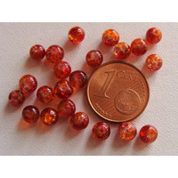 Perles verre Craquelé ronds 4mm ORANGE ROUGE par 100 pcs